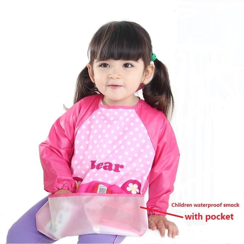 Cartoon Waterproof Baby Bibs Long Sleeve art smock with pocket kids Bibs Toddler Infant Burp Cloths Feeding Eat Lunch apron