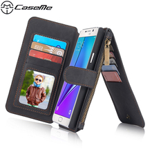 For Samsung Galaxy Note 5/Note5/N9200 Retro Quality Leather Case with Zipper Wallet Card Multifunction Magnetic Phone Back Cover