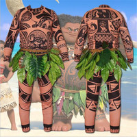 Halloween Costume Play Movie Moana Maui Island Revelry Adult Child Fancy BodySuit Full Tights Sweatshirt + Pants + Leaves