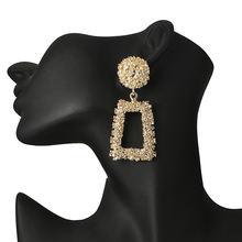 Женские винтажные серьги подвески золотистого цвета с геометрическим