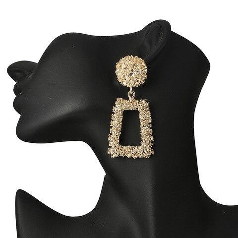Купить женские винтажные серьги подвески золотистого цвета с геометрическим
