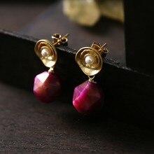 Натуральный красный камень белый пресноводный жемчуг рубиновые серьги 925 Серебряные Подвесные серьги для женщин Brincos Prata ювелирные изделия G010