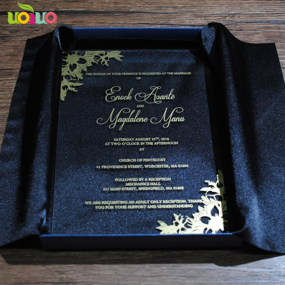 Simple Luxury Printed Lace Flower Wedding Invitation Card Acrylic
