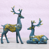 Creative Home Decor Living Room Desktop Decoration Office Decorative Animal Elk Resin Deer Figurine Ornaments Miniatures