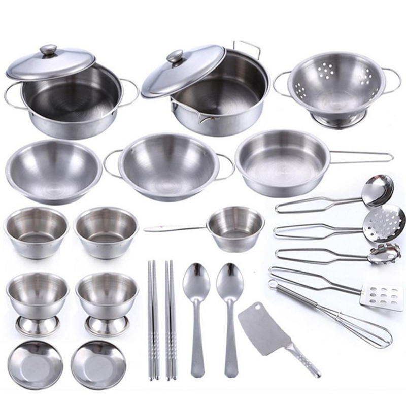 25 Pcs Set Kids Play House Kitchen Toys Cookware Cooking Utensils Pots Pans Gift L307 ...