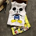 Лето Новый стиль Детская Одежда Устанавливает симпатичные Микки мальчик Хлопок Мультфильм жилет + брюки 2 шт. Девочка мальчик одежда