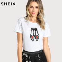 SHEIN Women Cotton T Shirt New Fashion Womens Lovely Shoes Applique T Shirt White Short Sleeve