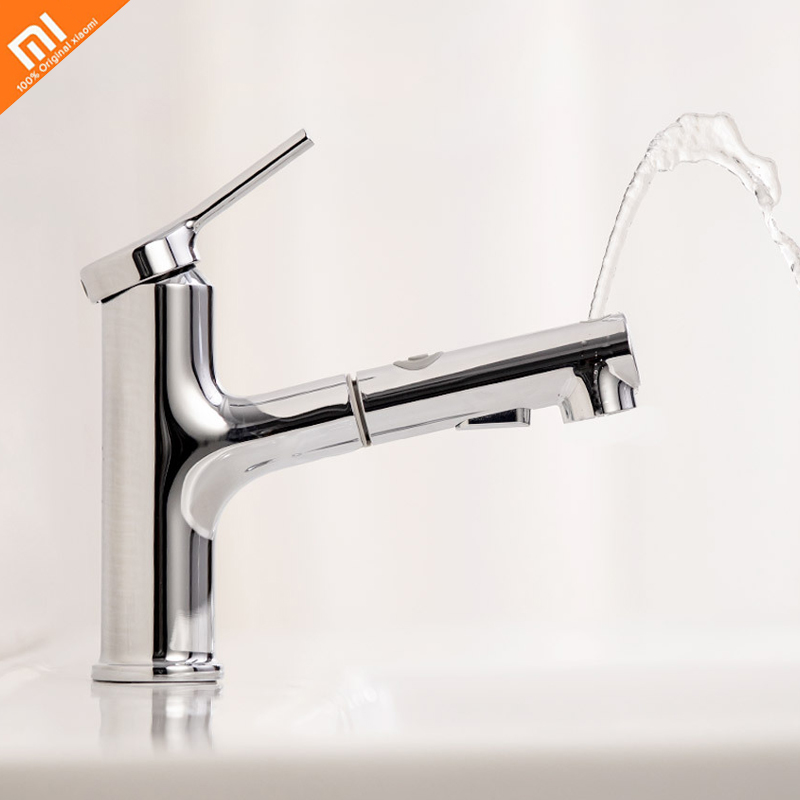 Original Xiaomi Mijia Extracting Faucet Bathroom Zinc Alloy Faucet Hot And Cold Water Shampoo Wash Your Face Gargle Faucet