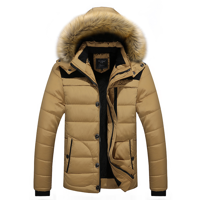 Winter Jacket Men Hat Detachable Warm Coat Cotton-Padded Outwear Mens Coats Jackets Hooded Collar Slim Clothes Thick   Parkas