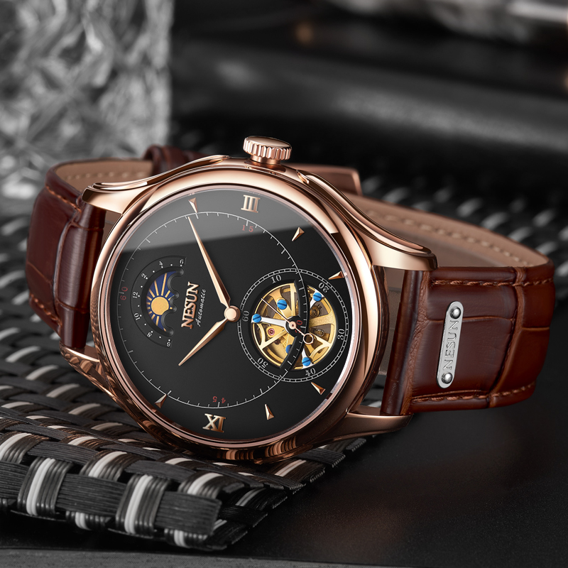Nesun турбийонные автоматические механические скелет мужские часы Элитный бренд часы для мужчин водостойкие relogio masculino N9038-2