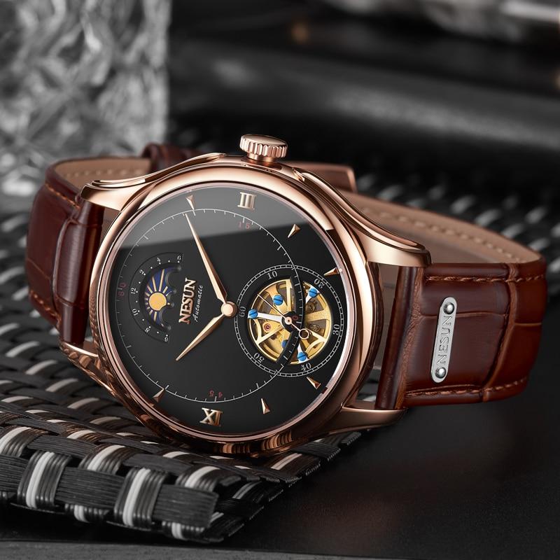 Nesun Tourbillion Automatische Mechanische Skeleton heren Horloges Luxe Merk Horloge Mannen Waterdichte relogio masculino klok N9038 2-in Mechanische Horloges van Horloges op  Groep 1