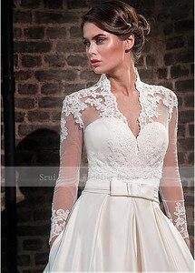 Image 4 - אלגנטי מתוקה סאטן חתונת שמלה עם מעיל ארוך שרוול באורך רצפת כלה שמלות כיסים Robe De Mariage