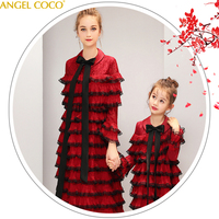 Parent child wear Mother Daughter Dresses new year catwalk princess dress foreign piano costume winter Family Matching Outfits