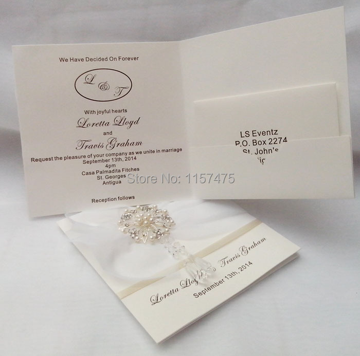 Hi1017 Elegant Ivory Personalised Wedding Invitations With Crystal Embellishments Favors And Gifts In Cards From Home Garden On