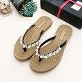 6 estilos de las mujeres zapatillas de verano rhinestone damas chanclas cristal slip-on sandalias de mujer casual zapatos de verano sandalias planas
