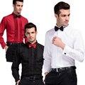 Drop Ship,High Quality Formal Men Dress Shirts White Tuxedo Shirts Long Sleeve Wedding Shirts Men Business Shirts Size 39-44