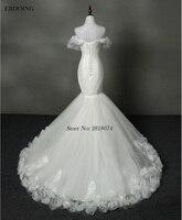 Real Photo Vestidos De Novia Wedding Dress Mermaid Sweetheart Neckline Sleeveless Lace Up Sweep Train With