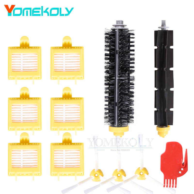 1set Bristle & Flexible Beater Brush 6PCS Hepa Filter 3PCS Side Brush for iRobot Roomba 700 Series Vacuum Robots Cleaner Parts replacement beater bristle brush hepa filter 3 armed side brush screws for irobot roomba 700 series vacuum cleaning robots