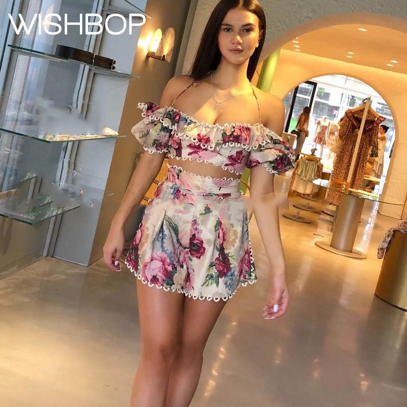 2 pcs set Resort Floral Printing MELODY OFF SHOULDER TOP Halter Neck Short Sleeves ruffle detail HIGH WAIST SHORT Lace trim