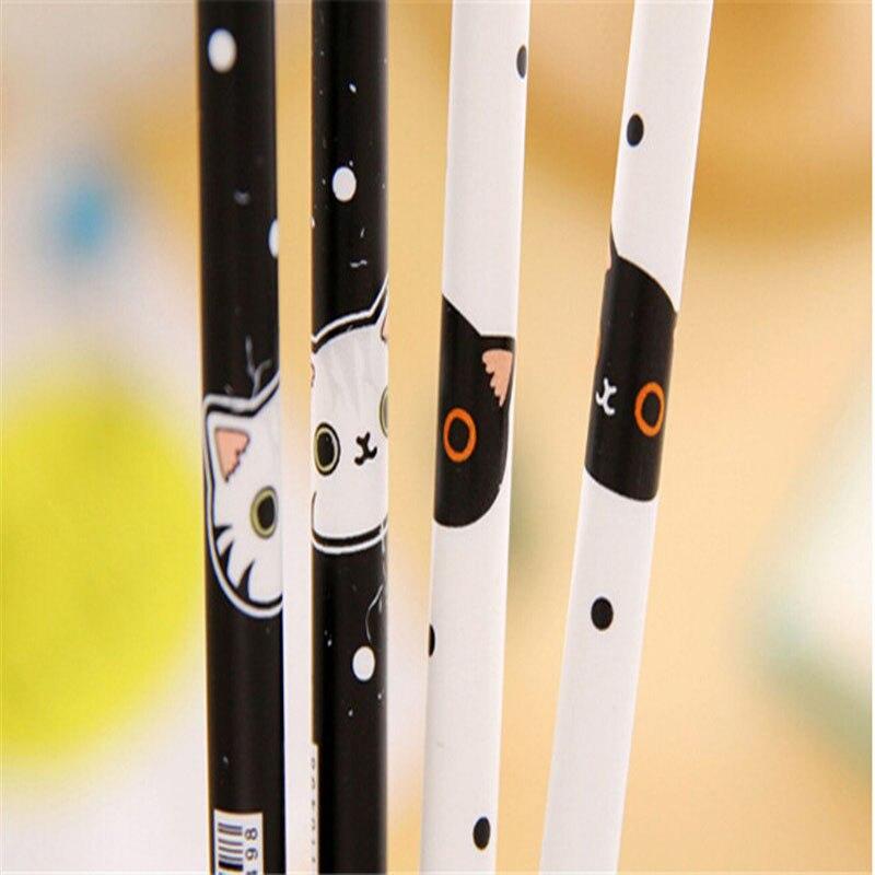 4X Cute Black White Cat Pattern Gel Pen Writing Signing Pen School Office Supply Kids Gift Stationery 0.38mm Black Ink