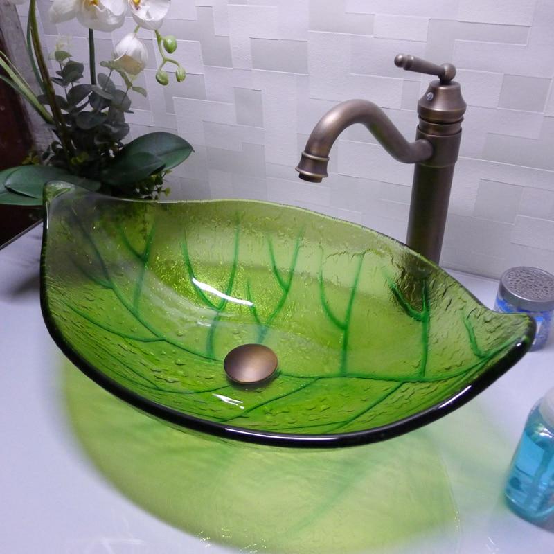 green leaf shape aseo vidrio templado sobre encimera lavabo bao lavabo encimera de cristal pintura de la mano hx en lavabos de mejoras para el hogar en