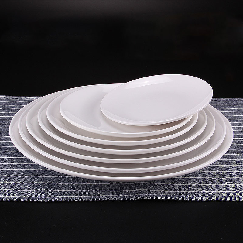 3pcs Melamine White Flat Plates Hotel Restaurant Kitchen Tableware Tray Dinner Plates pratos-in Dishes u0026 Plates from Home u0026 Garden on Aliexpress.com ... & 3pcs Melamine White Flat Plates Hotel Restaurant Kitchen Tableware ...