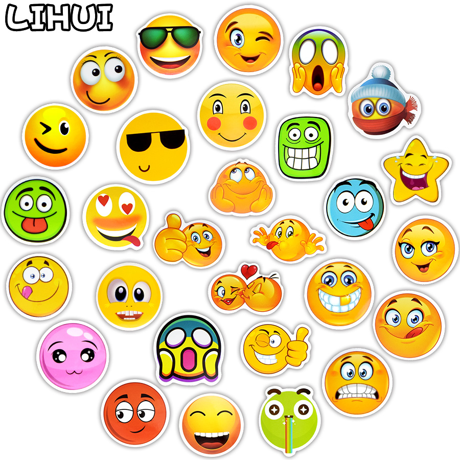 50 PCS Funny Emoji Stickers Toys for Kids Cartoon Emoticon Smile Face Decor Stickers Skateboard Laptop Suitcase Scrapbook Gifts 1 pcs sticker 48 classic emoji smile face stickers for notebook albums message twitter large viny instagram classical toys