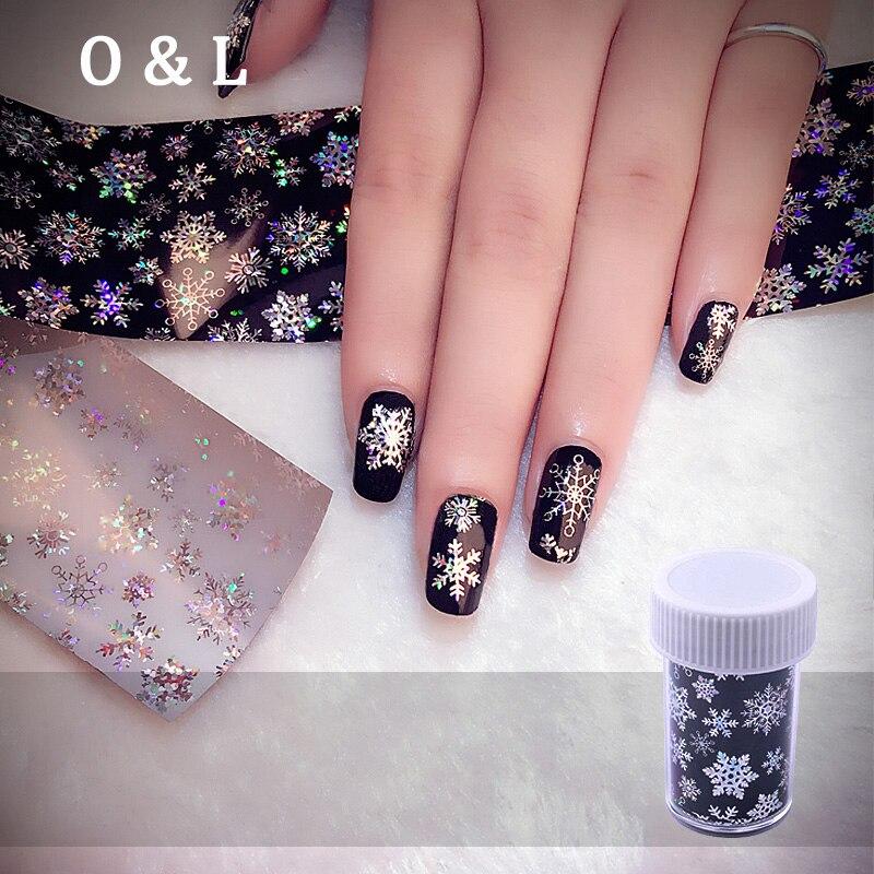 1pcs Christmas Snowflake Holographic font b Nail b font Foils Fashion font b Nail b font