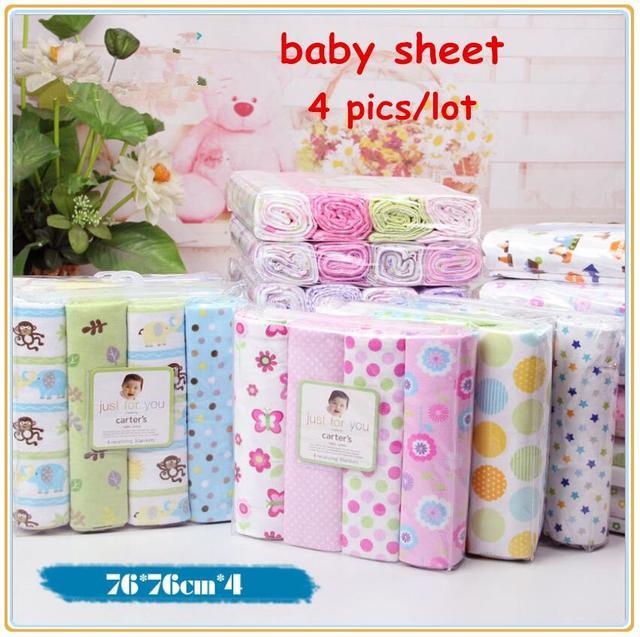 4pcs/lot newborn baby bed sheet bedding set 76x76cm for newborn crib sheets cheap cot linen 100% cotton blanket