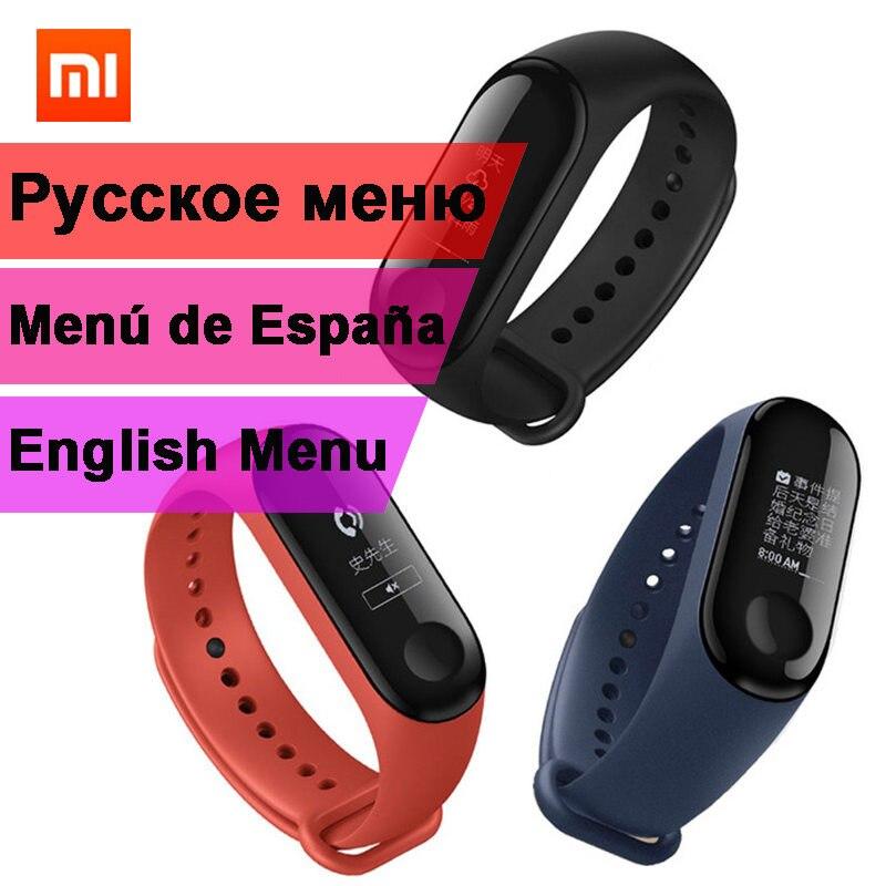 Original Xiaomi Mi Band 3 Miband 3 Support English Russian Spanish Menu Not NFC Version 0.78 inch Smart Bracelet Caller ID