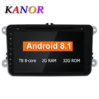 KANOR 2G android 8.1 octa core car dvd player for polo golf passat tiguan skoda yeti superb rapid for skoda gps navigation