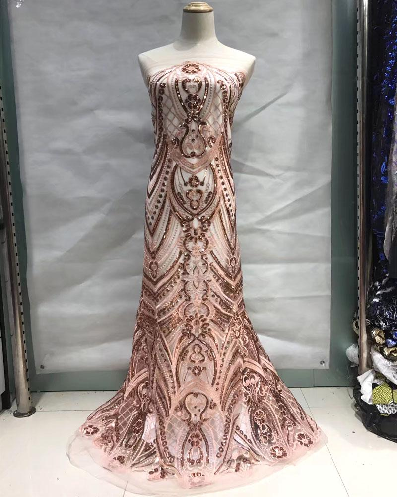 Unique classic French tulle Lace cord embroidery African tulle lace fabric with sequins for wedding woman