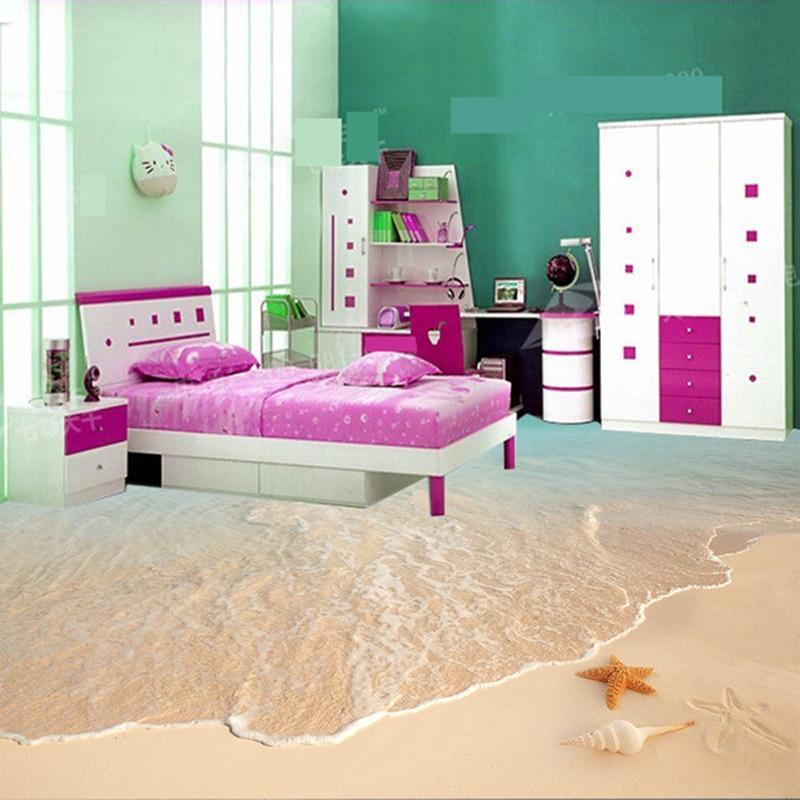 Custom 3D Floor Murals Vinyl Wallpaper Sandy Beach Sea Waves Shell Starfish 3D Bedroom Floor Painting PVC Waterproof Wallpaper