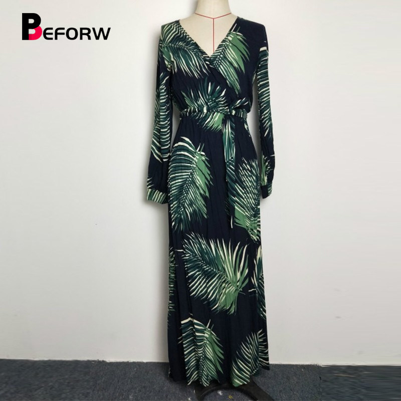 Women Long Sleeve Dress Green Tropical Beach Vintage Maxi Dresses Boho  Casual V Neck Belt Lace feefb76278c9