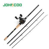 JOHNCOO NEW Baitcasting Fishing Rod Set with Baitcasting Reel 167g 2.1m 2.4m 2.7m Carbon Fishing Rod Travel Fishing Tackle