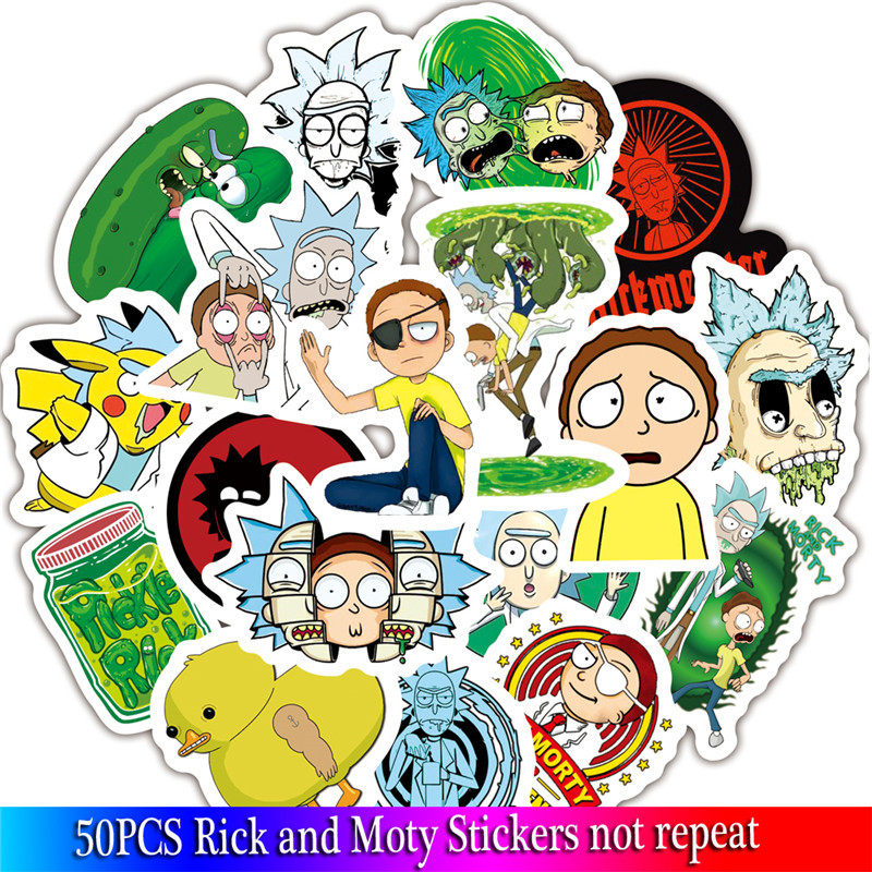 50 pcs American drama rick and morty sticker set laptop stickers decals