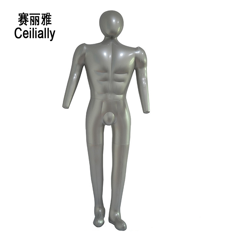 Male PVC Mannequin Manikin Full Body Model With Arm Clothes Display Rack Men Inflatable Mannequin Model Fabric Mannequins