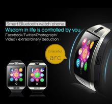 2016 Smart Uhr Android Q18 Bluetooth Tragbare Geräte Gebogene Bildschirm Touch Smartwatch Hochwertigen Reloj Inteligente Armbanduhr