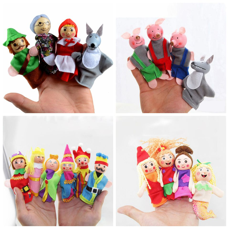 Puppet Theater Three Pigs Mermaid Castle Princess Child's Fairy Tale Finger Puppets Educational Toys For Children Birthday Gifts