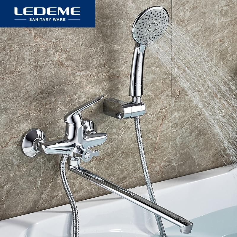 LEDEME Chrome Plated Bathtub Faucet Bathroom Bathtub Faucets Mixer Shower Set Tap With Hand Brass Shower Head Bathroom Set L2248