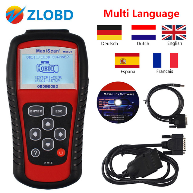ZOLIZDA Super quality multi-function autel ms 509 code reader obdii/eobd/obd2 maxiscan MS509 code scanner with free shipping