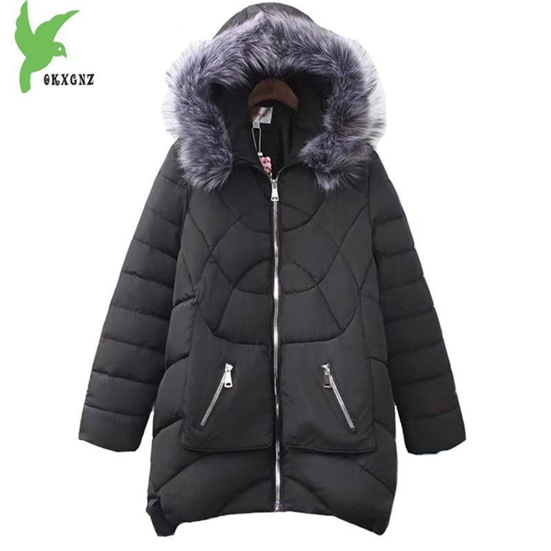 Plus size 5XL giacca di cotone di Inverno delle donne 2018 di Spessore cappotto caldo collo di pelliccia con cappuccio Allentato parka femminile cappotto lungo top OKXGNZ 1740