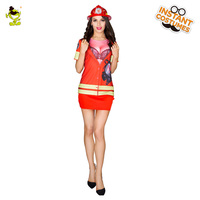 Ladies 3d printed T shirt Firefighter Costumes Women Cosplay Fancy Suit for Carnival Party Role Play Sexy Fireman Costume