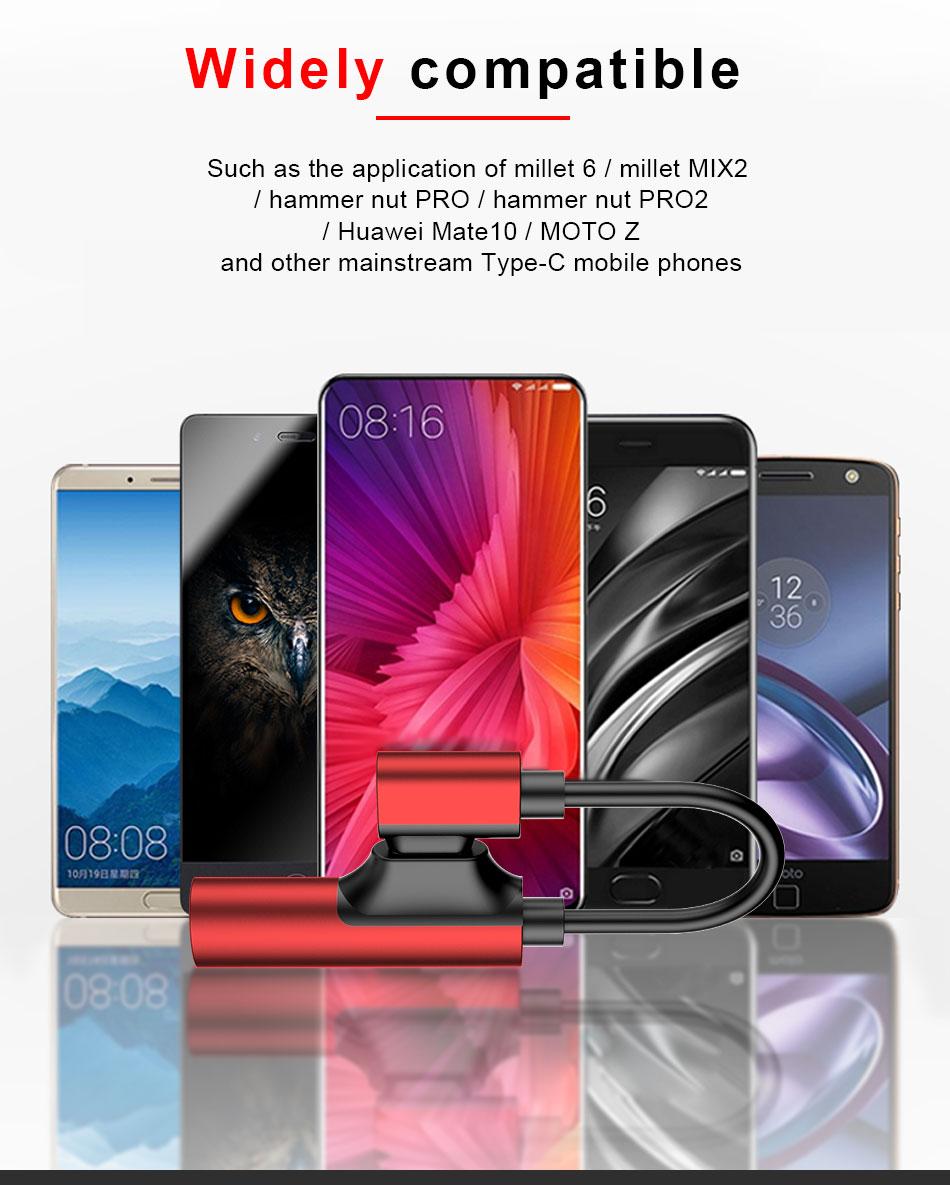 !ACCEZZ USB Type C Earphone Connector For Xiaomi Mi 6 5 Huawei Mate 10 Pro Fast Headphone Jack Splitter Charging Audio Adapter (8)