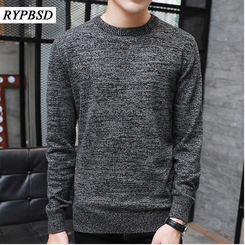 New Autumn Winter Men Knit Sweater O Neck Fashion Solid Color Male Sweater Pullover Men 2017 Male Brand Casual