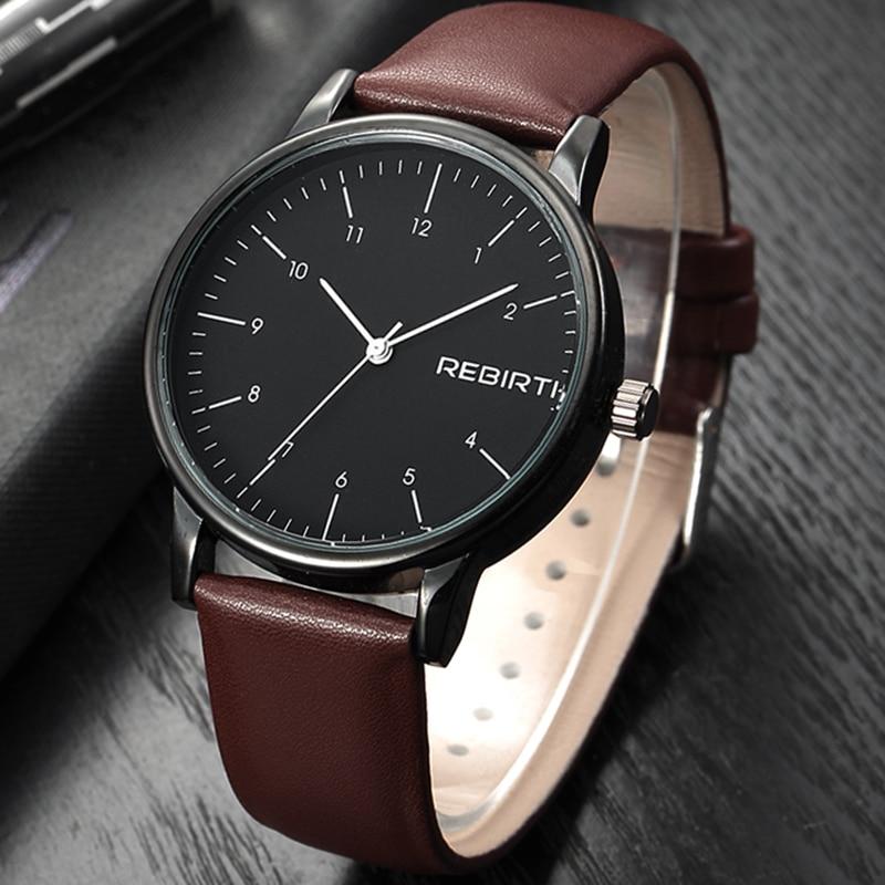 REBIRTH Men's Watch Top Brand Luxury Wrist Watches Business Watch Men Leather Strap Clock Men Relogio Masculino Reloj Hombre