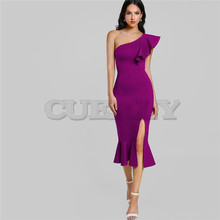 CUERLY Purple Ruffle One Shoulder Slit Sexy Dress Women 2019 Autumn High Waist Sleeveless Party Dress Elegant Long Dresses high slit long sleeveless cami dress