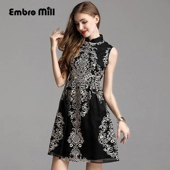 High-end spring women Retro Palace style Ruyi silk Heavy embroidery flower slim dress sleeveless fashion Woman dress S-XXL
