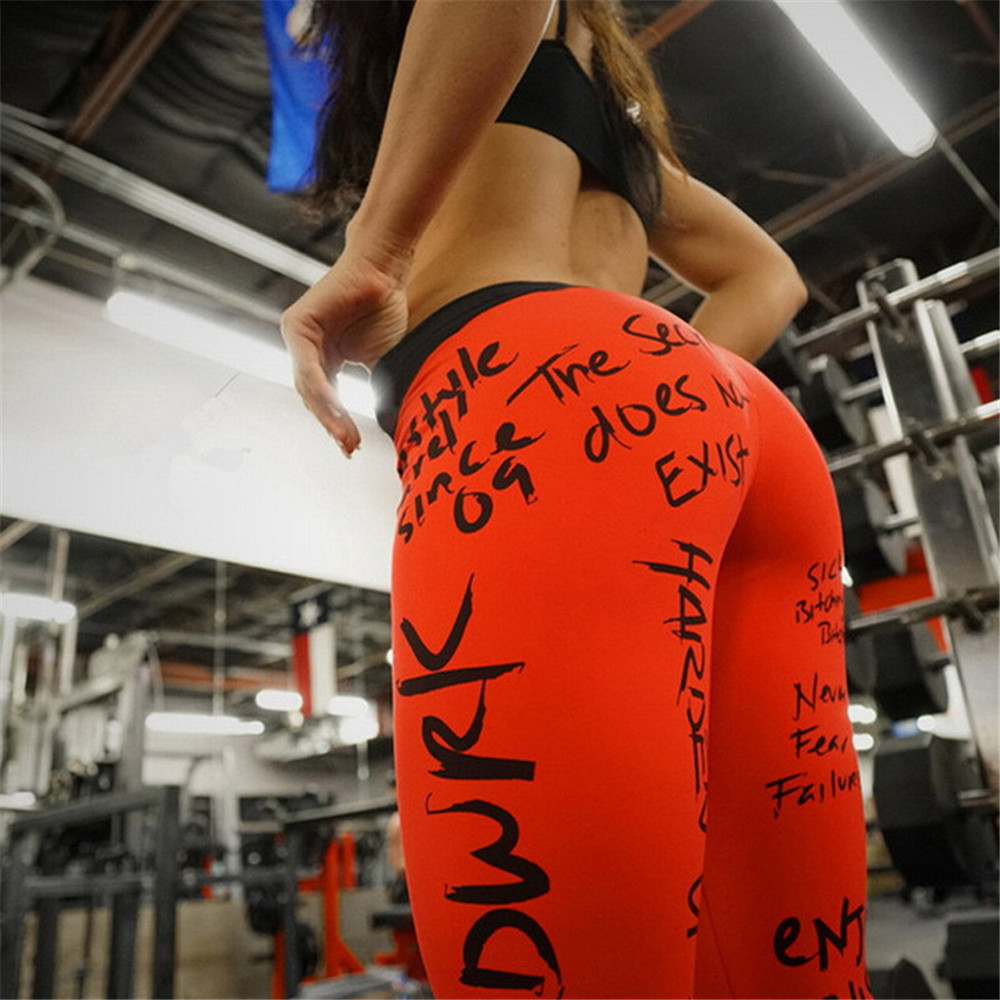 Female Autumn Letter Printed Leggings Workout Black Gray Red White Sport Sexy Hip Push Fitness Legging Plus Size Women Trousers in Leggings from Women 39 s Clothing
