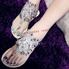 Beautiful Bling Crystal Decorated Casual Sandals Women Flat Flip Flops Buckle Strap Shoes Solid Fashion PU Handmade Women Shoes